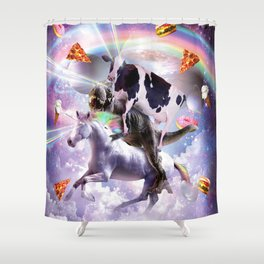 Laser Eyes Space Cow On Dinosaur Unicorn - Rainbow Shower Curtain