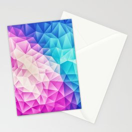 Pink - Ice Blue / Abstract Polygon Crystal Cubism Low Poly Triangle Design Stationery Cards