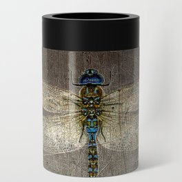 Dragonfly On Distressed Metallic Grey Background Can Cooler