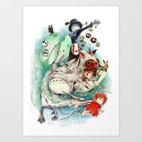 ghibli Art Prints featuring Ghibli by Archiri Usagi