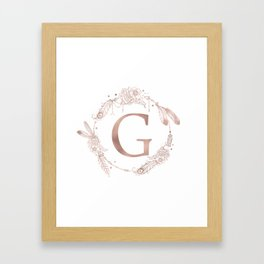 Letter G Rose Gold Pink Initial Monogram Framed Art Print