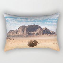 The Lonely Bison, Salt Lake City, Utah-Desert Landscape Rectangular Pillow