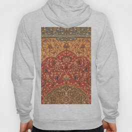 Flowery Vines III // 16th Century Contemporary Red Blue Yellow Colorful Ornate Accent Rug Pattern Hoody