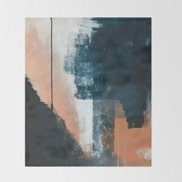 Vienna: a minimal, abstract mixed-media piece in pinks, blue, and white by Alyssa Hamilton Art Throw Blanket