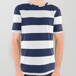 Nautical Navy Blue and White Stripes All Over Graphic Tee