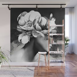 Floral Portrait-black and white Wall Mural