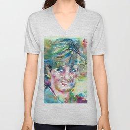 DIANA - PRINCESS OF WALES - watercolor portrait.4 Unisex V-Neck