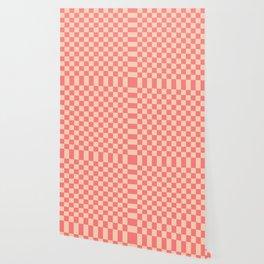 Coral and Peach Check Wallpaper
