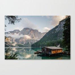 Mountain Lake Cabin Retreat Canvas Print
