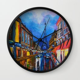 Eiffel Tower Street Wall Clock