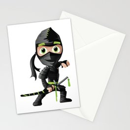Cartoon Black Ninja Illustration Stationery Cards