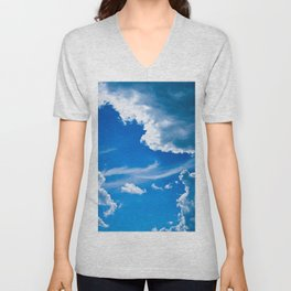 clouds sky blue ease volume patterns air masses Unisex V-Neck
