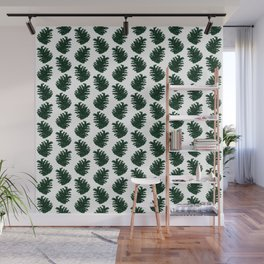 Pinecone Pattern - Green and White Wall Mural