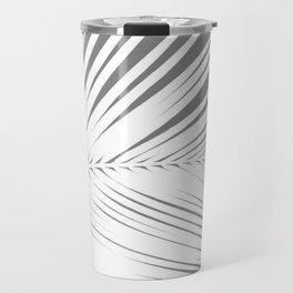 Large Palm Leaf, Grey / Gray and White Travel Mug
