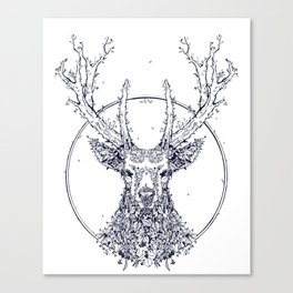 Flowers and Stag [Monochrome] Canvas Print