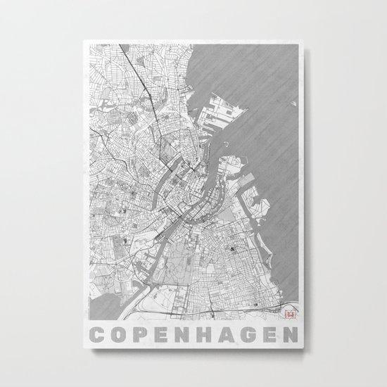 Copenhagen Map Line Metal Print