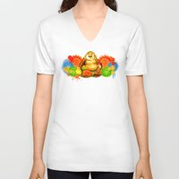 buddah V-neck T-shirts featuring Buddah by Adaildo Neto