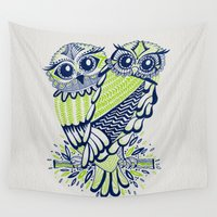 lime Wall Tapestries featuring Owls – Navy & Lime by Cat Coquillette