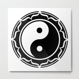 Yin Yang Lotus Flower Metal Print