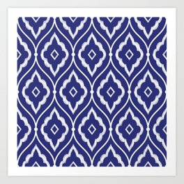 Embroidery vintage pattern illustration with porcelain indigo blue and white Art Print