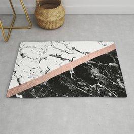 Modern black white marble color block rose gold Rug