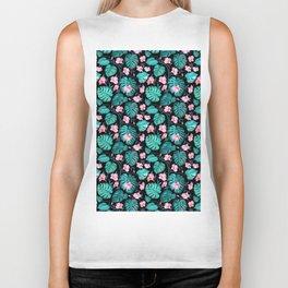 Tropical teal pink black vector floral pattern Biker Tank