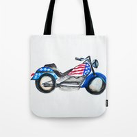 motorcycle Tote Bags featuring Motorcycle by Aniko Levai