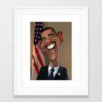 obama Framed Art Prints featuring Obama by Enrique Guillamon