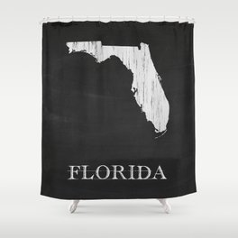 Florida State Map Chalk Drawing Shower Curtain