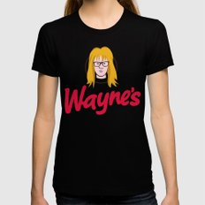 WAYNE'S SINGLE #2 Womens Fitted Tee MEDIUM Black
