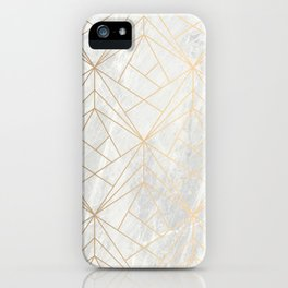 Gold Geometries on Marble iPhone Case