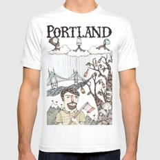 Portland, Oregon Mens Fitted Tee White LARGE