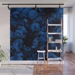 winter flowers seamless pattern 01 big dark blue Wall Mural