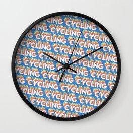 Cycling Trendy Rainbow Text Pattern (Blue) Wall Clock