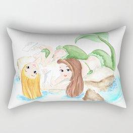 mermaid friends, watercolor painting original, best friend gifts ideas Rectangular Pillow