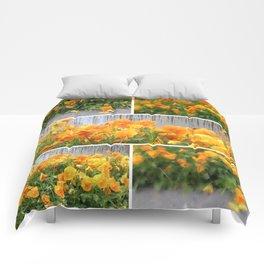 Orange Pansies Collage Comforters