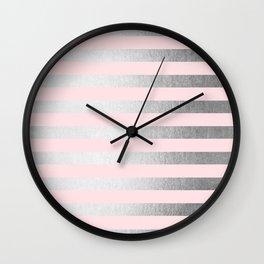 Stripes Moonlight Silver on Flamingo Pink Wall Clock