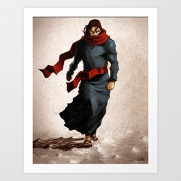 Walking on water means he conquered death! (colored version) Art Print