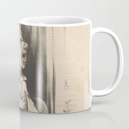 "Honoré Daumier ""Man in bed with love letter: Elle m'aime toujours - She loves me always"" Coffee Mug"