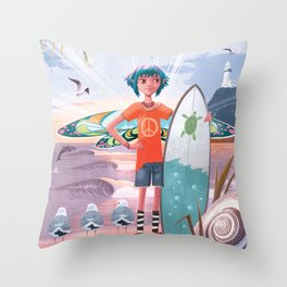 The Adventures of Lola and the Ocean Monster Throw Pillow