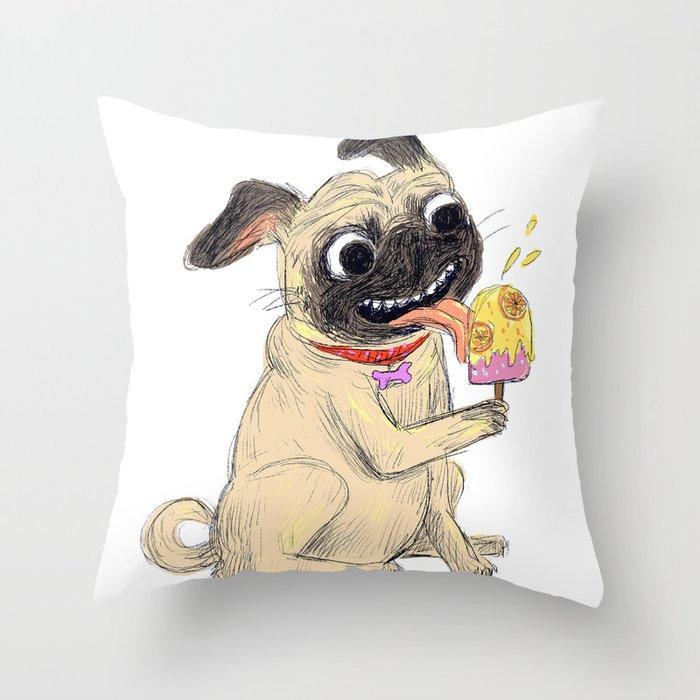 Summer Pug Throw Pillow