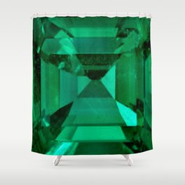 FACETED EMERALD GREEN MAY GEMSTONE Shower Curtain