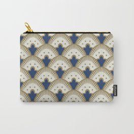 Fan Pattern Blue/Gold Carry-All Pouch