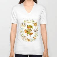 floral V-neck T-shirts featuring The Legend of Zelda: Mammal's Mask by Teagan White