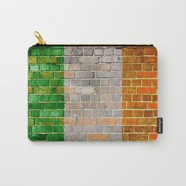 Ireland flag on a brick wall Carry-All Pouch