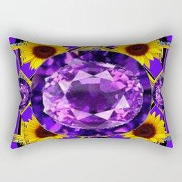WESTERN AMETHYST GEMS PURPLE SUNFLOWER ART Rectangular Pillow