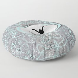 Dance Collection in Delicate Mint and Silver Glitter Design Floor Pillow