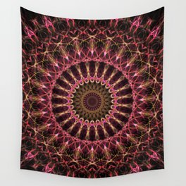 Mandala in golden and red tones Wall Tapestry