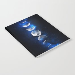 Phases of the Moon Blue Notebook