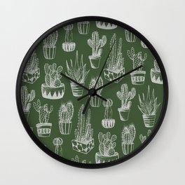 Cactus Pattern Green Wall Clock